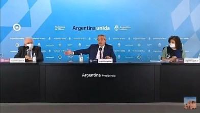 """El presidente Alberto Fernández y el ministro de Salud, Ginés González García"""" anuncio de la vacuna del COVID-19."""