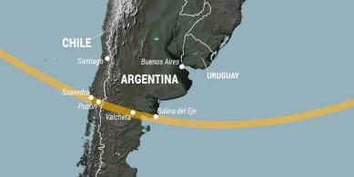 Eclipse total de Sol  hoy 14/12/2020 de las 11:38 a las 13:25 en Salina del Eje Argentina