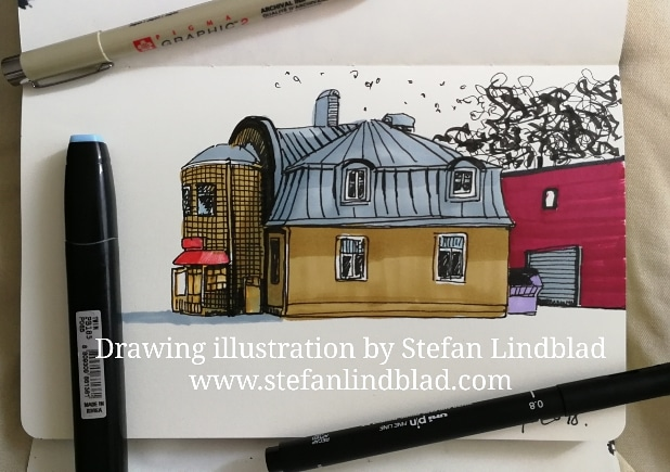 Drawing, Kiosk, building, Illustrator, Stefan Lindblad, Meat District, Slakthusområdet, Stockholm, Sweden