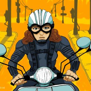Illustratör Stefan Lindblad Corel Photo-Paint, Vespa, motorcykel
