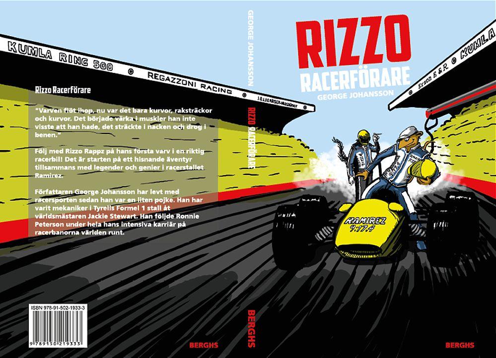Illustratör Stefan Lindblad, Berghs bokförlag, boken Rizzo Racerförare, teckning, digital tusch, bokomslag, författare George Johansson