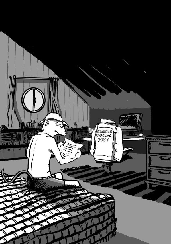 Illustratör Stefan Lindblad, Berghs bokförlag, boken Rizzo Racerförare, teckning, digital tusch