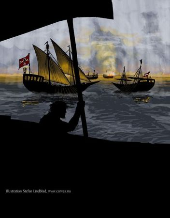 Piratskepp, Illustration Stefan Lindblad