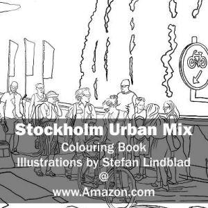 Stefan Lindblad, illustration, Illustratör, Illustration, teckningar, drawings, Corlouring, Coloring Book, Stockholm Urban Mix, woman, kvinna , cykel, slussen