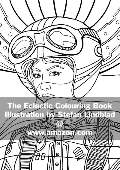 The Eclectic Colouring Book, Stefan Lindblad, illustrationer, woman, astronaut, pilot