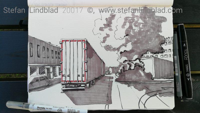 Årstakliniken, Partihallar, långtradare, teckning, illustration, tuschpennor, Stefan Lindblad, Stockholm