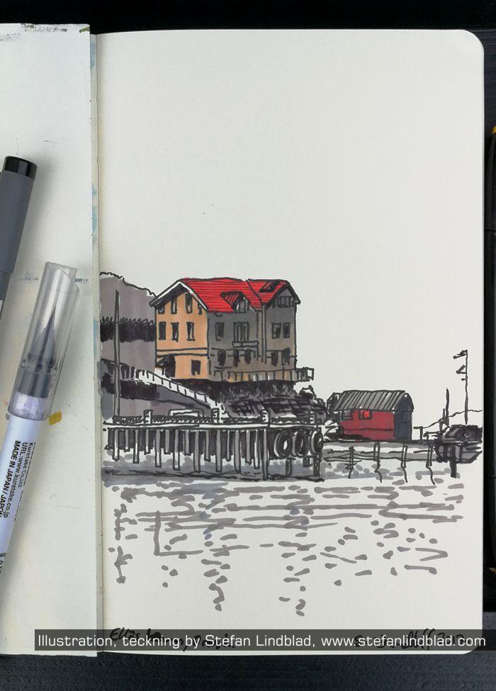 Illustratör, Stefan Lindblad, illustration, ellös, småbåtshamn, hamn, båtar, hus vid havet, strandskydd,
