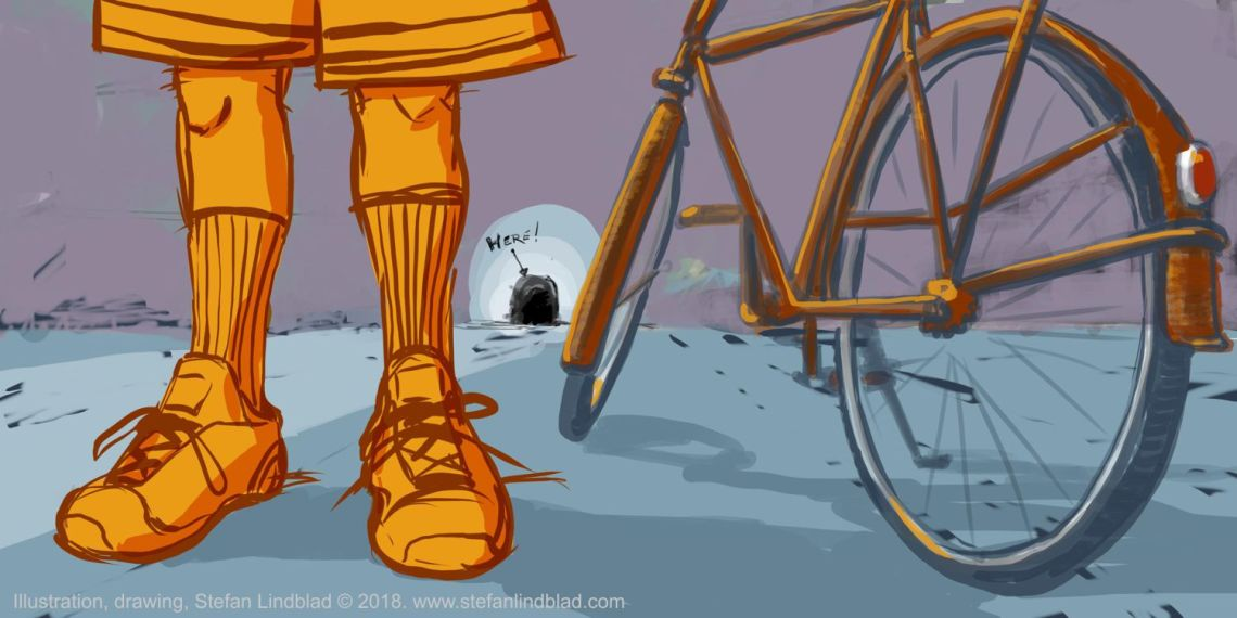 Stefan Lindblad, illustratör, En man med cykel och gympaskor, illustration, Corel Painter, wacom, Cykel, råtta, råtthål, sneakers, illustrations