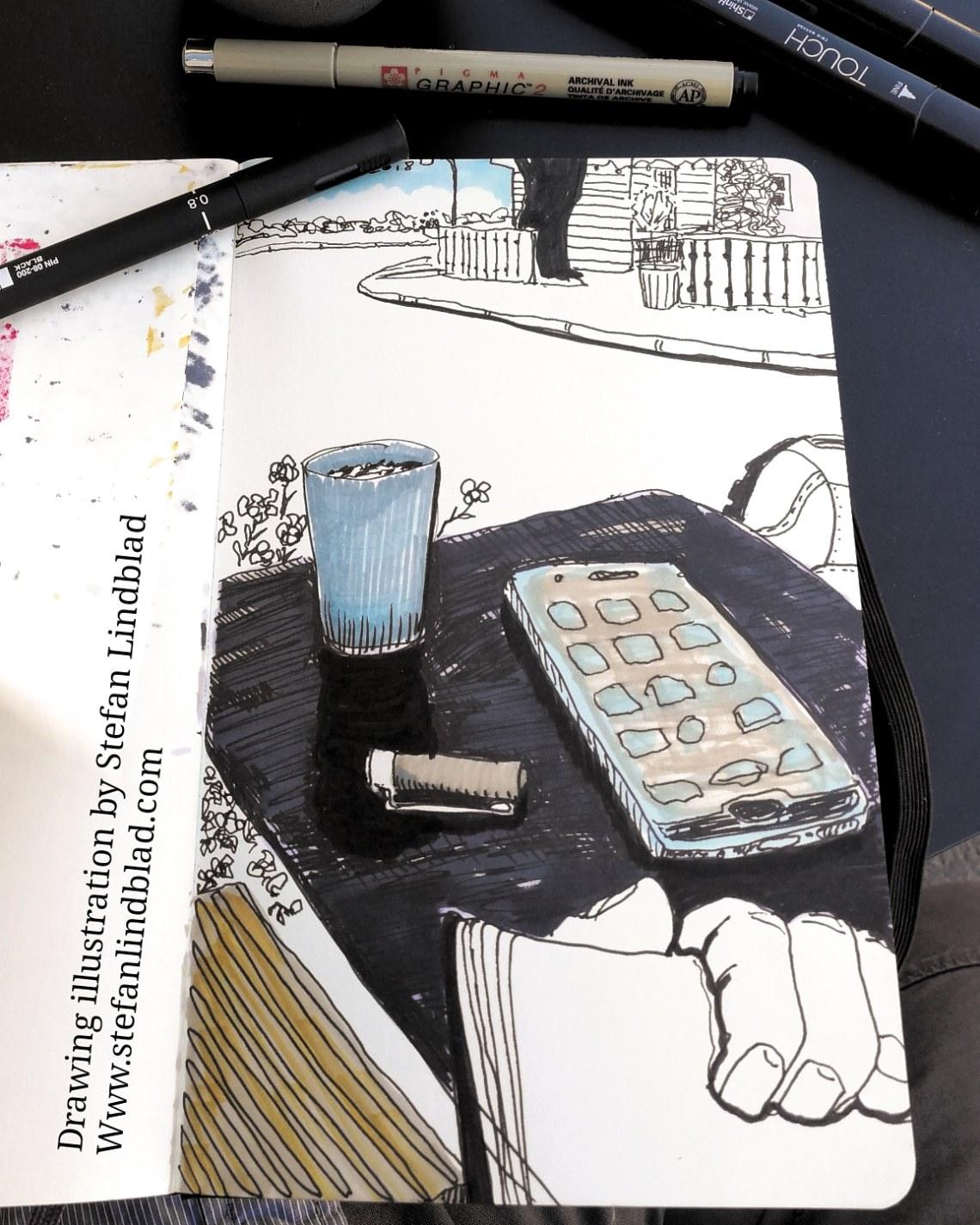 Teckning, illustration, Bageri, Delselius, Stefan Lindblad, illustratör, illustrator, Moleskine, tuschpennor, Urban Sketching, Sketch, Enskede, Gamla Enskede, Enskededalen, Enskede Gård, Dalen, Kaffe, uteservering, Mobil, mobiltelefon, keffemugg, temugg, fika