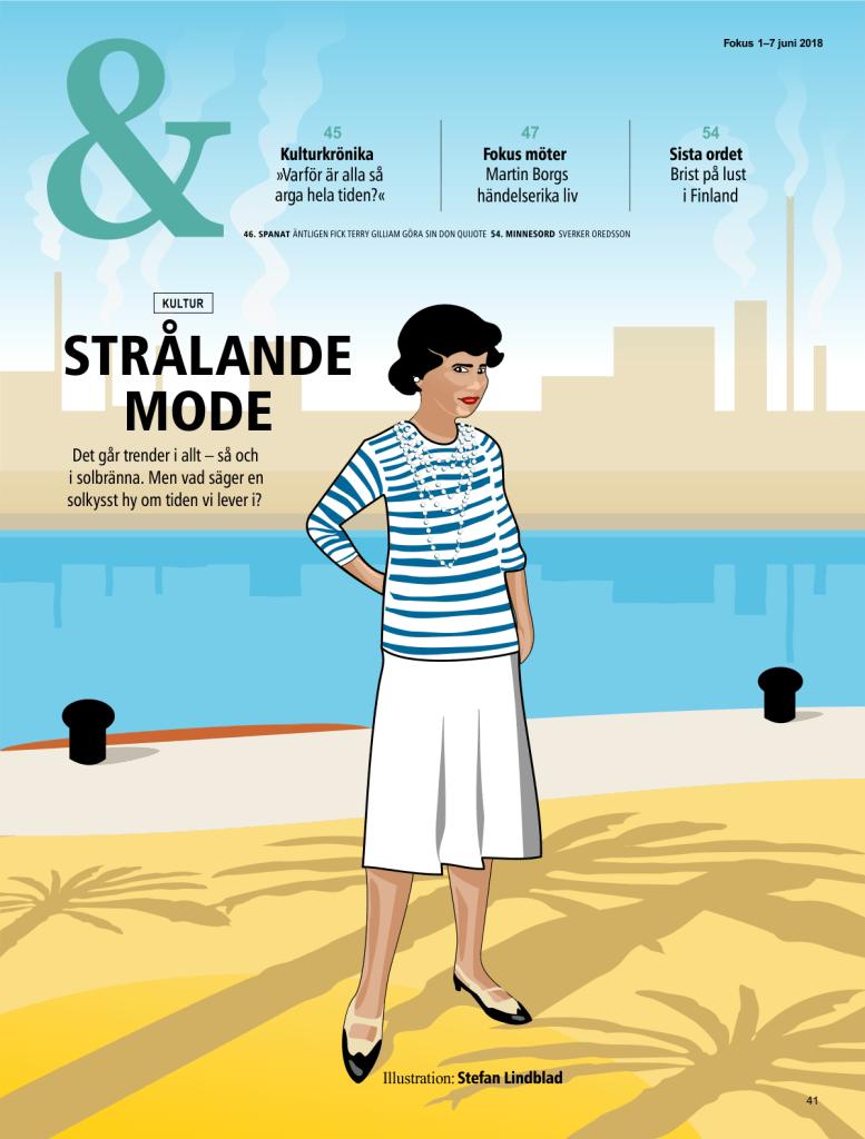 Stefan Lindblad, illustration, illustratör, fokus magasin, redaktionell illustration, vektor, vektorillustration, Coco Chanel, CorelDRAW, Illustrator
