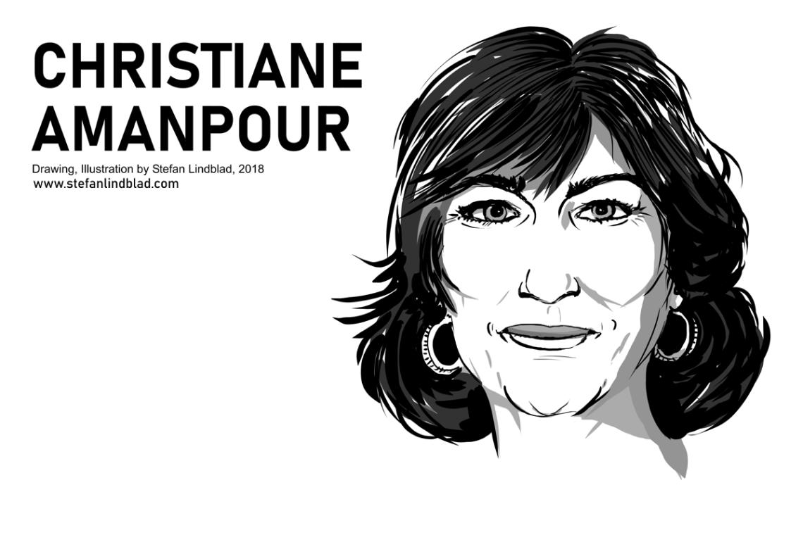Christiane Amanpour, CNN, Illustration, Stefan Lindblad, Drawing, 2018 Copyright