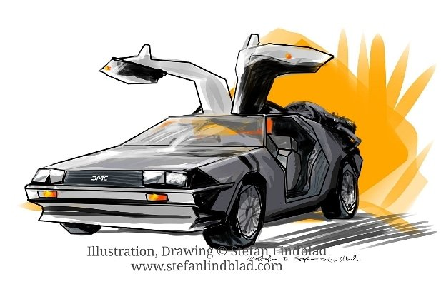 Illustratör, Stefan Lindblad,DMC 12, Bil, bilar, DeLorean, Sportbil, illustration