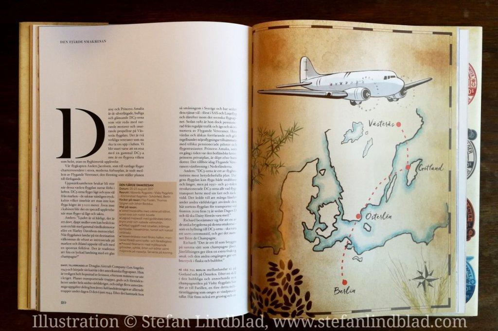 Illustratör Stefan Lindblad © , illustration teckning Göta Kanal, DC 3, Den stora smakresan