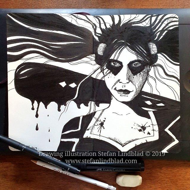 Inktober tusch illustration färg i datorn – Homage till Harley Quinn