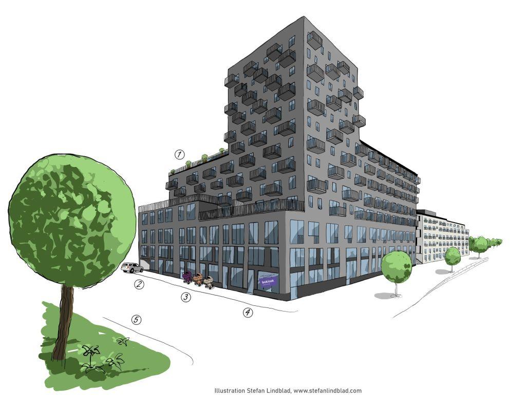 Teknisk illustration för SSM Living Metronomen, Telefonplan, Stockholm, sverige. Teckning av ett hus med terass och olika utemöbler och funktioner. Tecknad av illustratör Stefan Lindblad