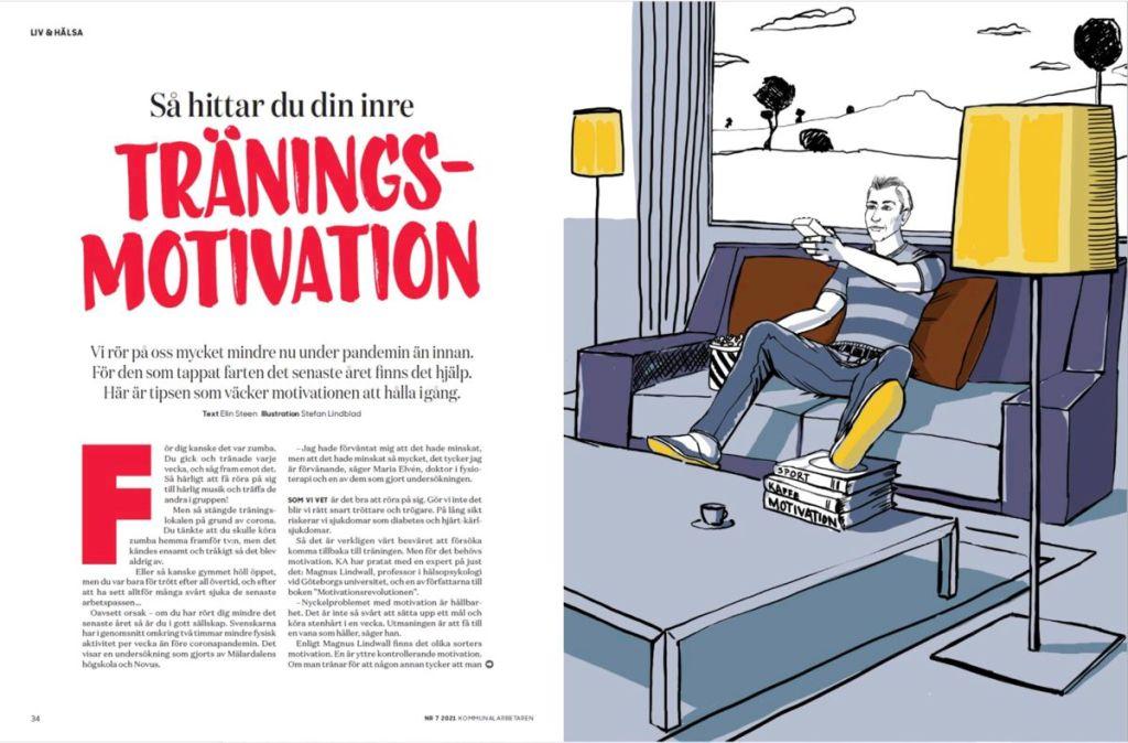 Illustration till kommunalarbetaren, tidningen. En man sitter i soffan och använder fjärrkontrollen