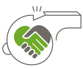 Visselblåsartjänst, visselpipa, hjärta och handslag. Logotypdesign logga till Trust&heart, företaget Human&heart, av illustratör Stefan Lindblad