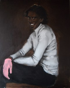 "Lynette Yiadom-Boakye, ""Wrist Action,"" 2010, oil on canvas, 98 3/8 x 78 3/4 inches. Courtesy of the artist, Jack Shainman Gallery, New York and Corvi-Mora, London. ©Lynette Yiadom-Boakye."