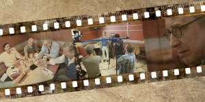 """Photos in lead image from left to right: Brian Zoldessy, Scott Miller, Joel Hammer, George Roth and Jeffrey Grover in a scene from """"On a Technicality""""; Jeffrey Grover as """"Howard"""" preparing for a take for """"On a Technicality""""; and George Roth as """"Bruce"""" in """"On a Technicality."""" Photos courtesy of g2h films; illustration by Jon Larson."""