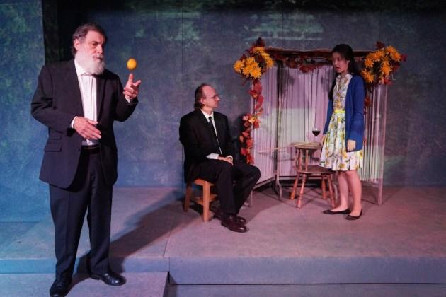 From left, Michael Regnier (Rabbi Isidore), Robert Branch (Simcha Bergman) and Kelsey Angel Baehrens (Rachael Bergman). PHOTO | Dale Heinen
