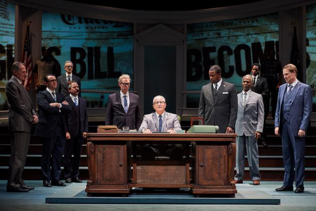 "Steve Vinovich, center, as President Lyndon Baines Johnson, and members of the ensemble of ""All the Way."" 