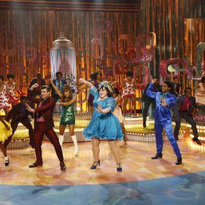 Garrett Clayton as Link Larkin, at left, Ariana Grande as Penny Pingleton, Maddie Baillio as Tracy Turnblad, Ephraim Sykes as Seaweed J. Stubbs. Photo   Justin Lubin, NBC
