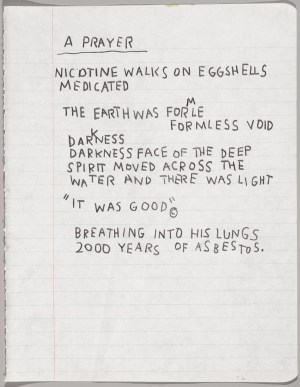 20. EL 135.05.07 Untitled Notebook Page, c. 1987. Jean-Michel Basquiat (American, 1960–1988). Wax crayon on ruled notebook paper; 9 5/8 x 7 5/8 in. Collection of Larry Warsh. Copyright © Estate of Jean-Michel Basquiat, all rights reserved. Licensed by Artestar, New York. Photo: Sarah DeSantis, Brooklyn Museum