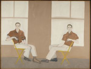 """""""Double Portrait of Robert Rauschenberg,"""" 1959. Alex Katz (American, b. 1927). Oil on canvas; 167.6 x 217.2 cm. Colby College Museum of Art, Museum purchase made possible by Peter and Paula Lunder through the Lunder Foundation, Michael Gordon '66, Barbara and Theodore Alfond through the Acorn Foundation, and the Jere Abbott Acquisitions Fund, 2016.190. Art © Alex Katz / Licensed by VAGA, New York, NY."""