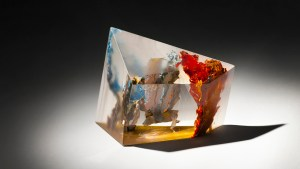 """""""Fraction 540.3"""" by Courtlandt Swartz, part of his """"Fraction"""" series. Suspended paint in hand-cast acrylic, 5.25 x 2.75 x 4 inches. Swartz will be featured in the corresponding """"30th Anniversary International Exhibition."""" Image courtesy of Harris Stanton Gallery."""