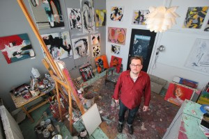 Justin Brennan in his studio at 78th Street Studios in Cleveland's Detroit-Shoreway neighborhood.