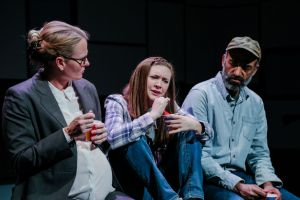 From left, Amy Fritsche (Phyllis), Megan Medley (Meaghan), and Fabio Polanco (Earl). Photo | Michelle Berki