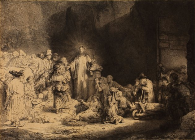 """""""Christ Healing the Sick (The Hundred Guilder Print)"""" by Rembrandt Harmenszoon van Rijn, 1648; etching, engraving and drypoint on Japanese paper. Image courtesy of the Allen Memorial Art Museum."""