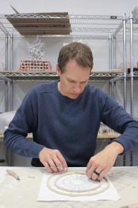 Johnson lays the groundwork for a piece in his Kent State University studio.