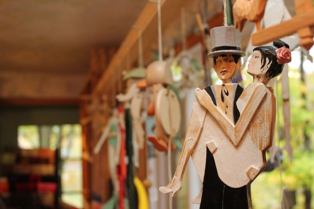 Jumping jacks, puppet-like toys with moving joints, created by Norbert and Victoria Koehn can be found at Koehn Sculptors' Sanctuary on Green. Photo by Michael C. Butz