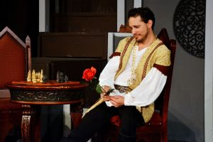 A pensive Andrew Cruse as King Arthur. Photo / Scott Custer