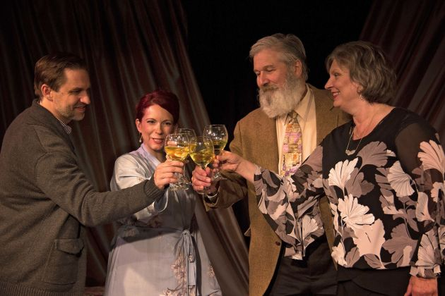 "Brian Bowers as Henry, from left, Tricia Bestic as Sonia, Dana Hart as Hubert and Julia Kolibab as Inez in ""Life x 3"" at Cesear's Forum. Photo / Greg Cesear"