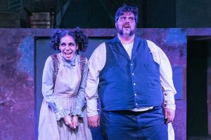 Trinidad Snider as Mrs. Lovett and Patrick Ciamacco as Sweeney Todd. Photo / Andy Dudik