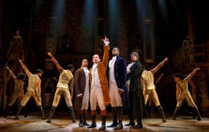 "Elijah Malcomb as John Laurens (from left), Joseph Morales as Alexander Hamilton, Kyle Scatliffe as Marquis De Lafayette, Fergie L. Philippe as Hercules Mulligan, and the ""Hamilton"" company. Photo / Joan Marcus"