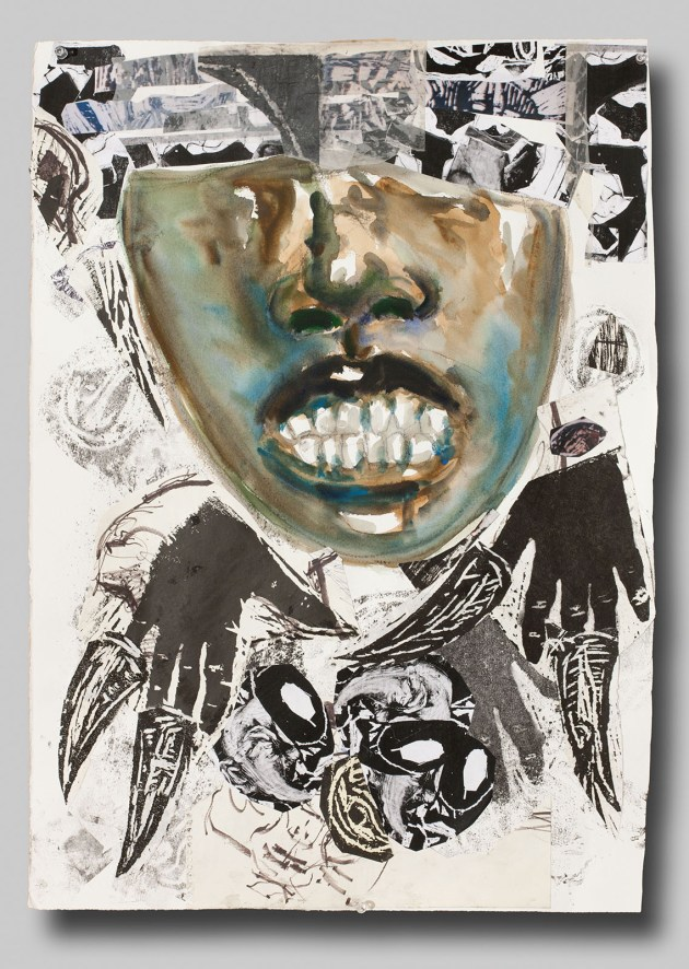 """White Light/Black Face"" by Dexter Davis (2010); collage, watercolor and found paper, 30 x 21 inches."