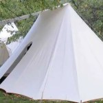 double bell wedge tent with awning and separate gate