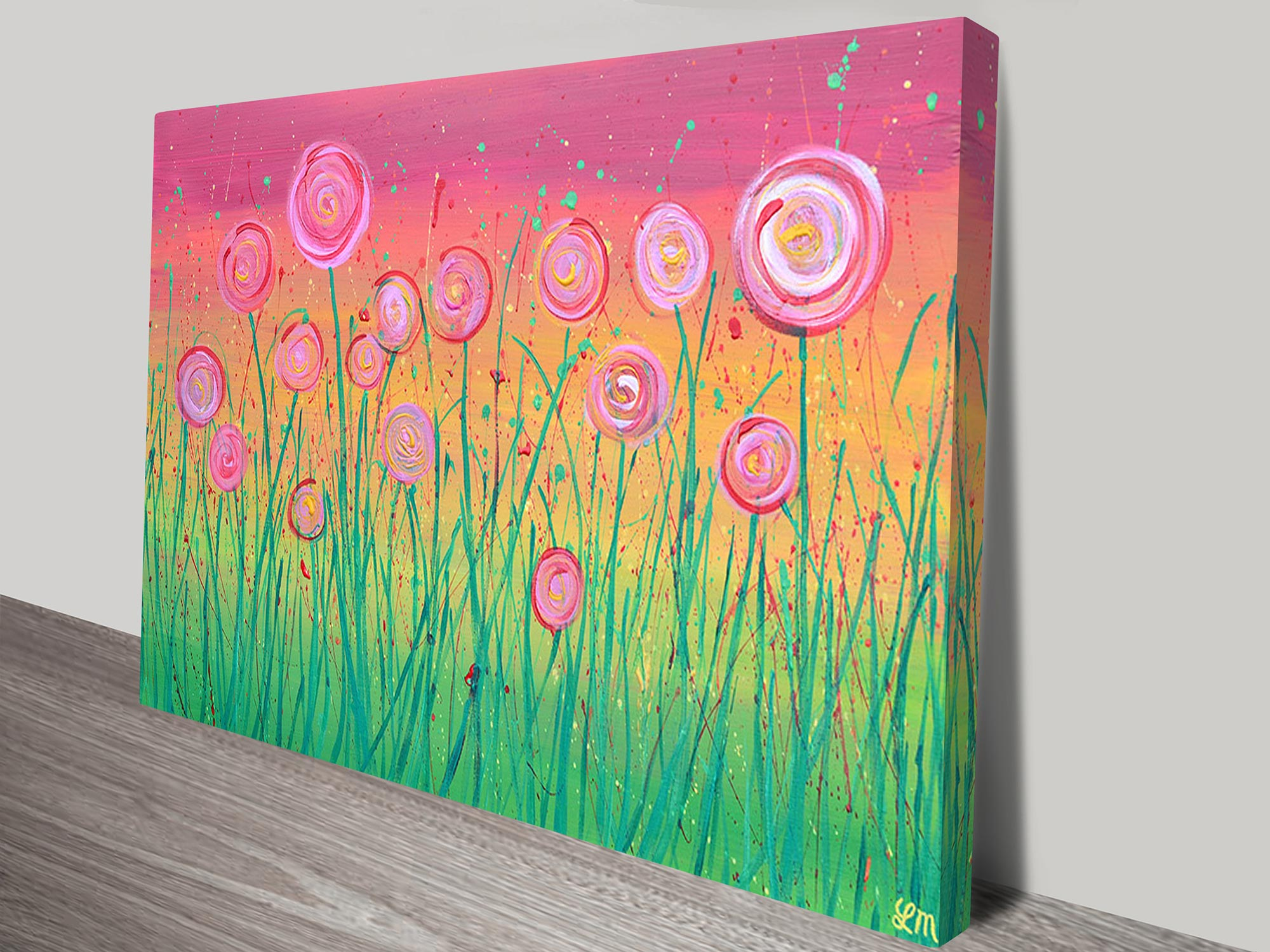 Abstract Pink Flower Field Wall Art On Canvas