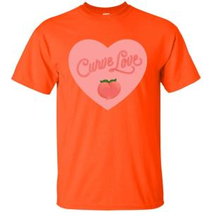 Curve Love Classic Fit Cotton T-Shirt in Orange from AllGo's merch store featuring plus size statement apparel and more