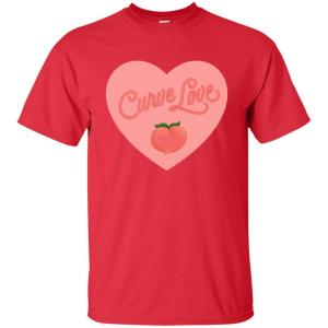 Curve Love Classic Fit Cotton T-Shirt in Red from AllGo's merch store featuring plus size statement apparel and more