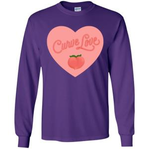 Curve Love Classic Fit Long Sleeve Cotton T-Shirt in Purple from AllGo's merch store featuring plus size statement apparel and more