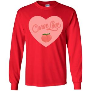Curve Love Classic Fit Long Sleeve Cotton T-Shirt in Red from AllGo's merch store featuring plus size statement apparel and more