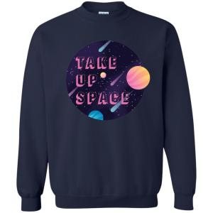 Take Up Space Classic Fit Crewneck Sweatshirt in Navy from AllGo's merch store featuring plus size statement apparel and more