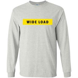 W I D E L O A D Classic Fit Long Sleeve Cotton T-Shirt in Ash from AllGo's merch store featuring plus size statement apparel and more