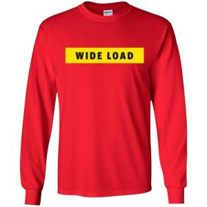W I D E L O A D Classic Fit Long Sleeve Cotton T-Shirt in Red from AllGo's merch store featuring plus size statement apparel and more