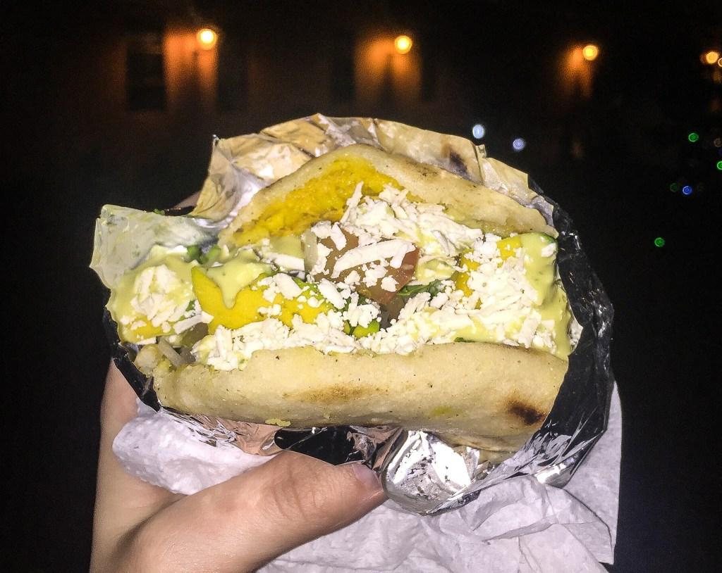 Arepa sandwich in Cartagena, Colombia