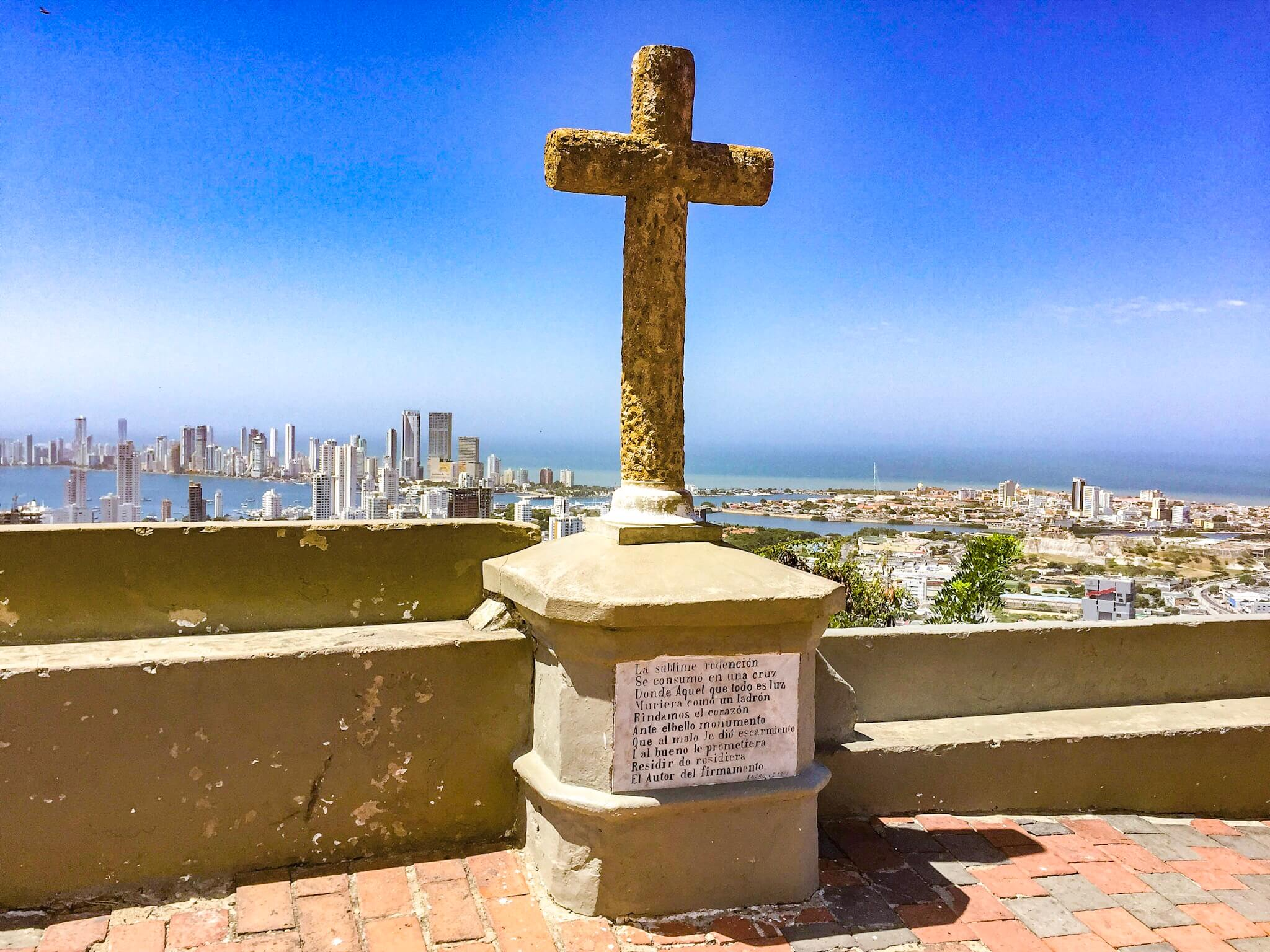 Things to do in Cartagena - Cerro de la Popa view and cross